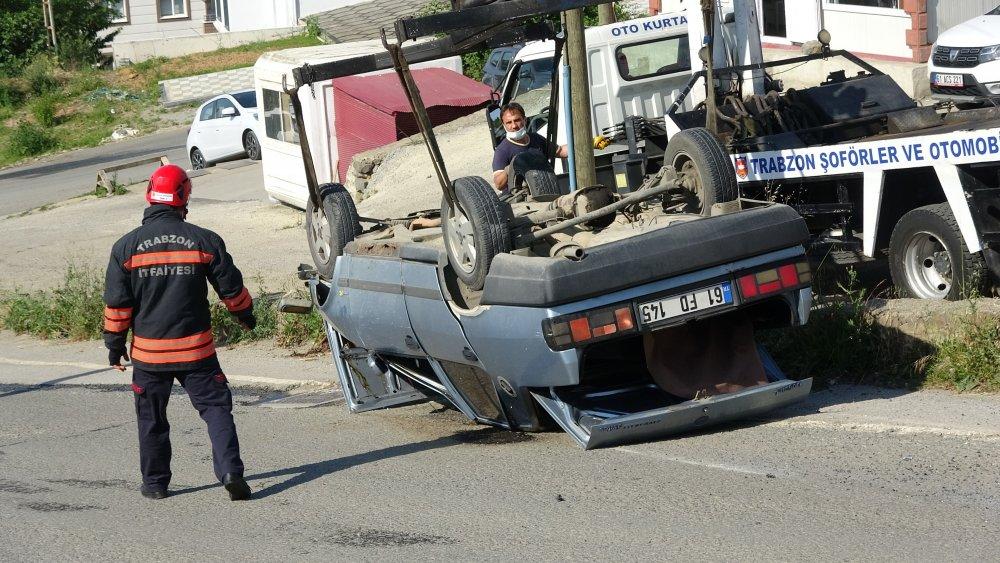 Trabzon'da freni boşalan otomobil takla attı: 1 yaralı