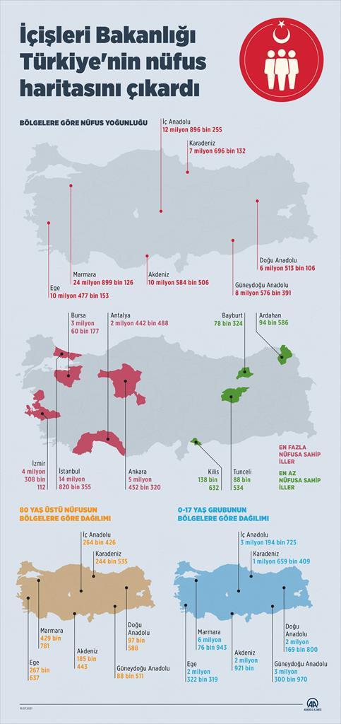 Türkiye'nin nüfus haritası! En az nüfus Bayburt'ta
