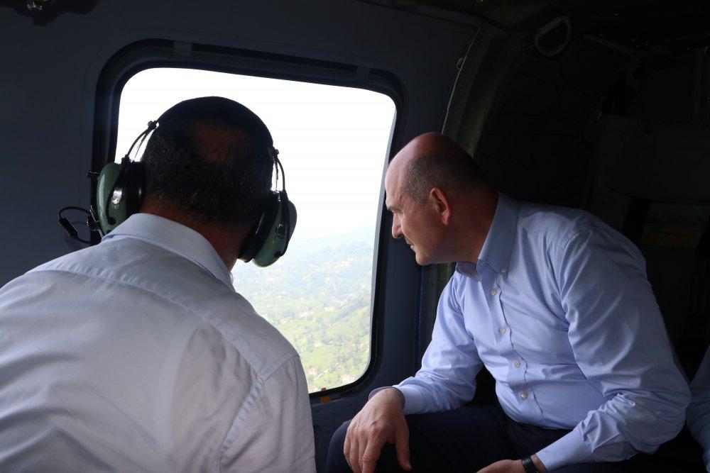 Rize'de bakanlardan havadan inceleme