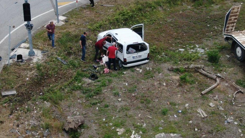 Giresun'da kaza anı drone ile görüntülendi