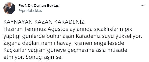 Doğu Karadeniz'de seller neden oluyor? Prof. Dr. Osman Bektaş böyle açıkladı