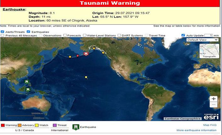 Depremin ardından bölgede tsunami uyarısı yapıldı
