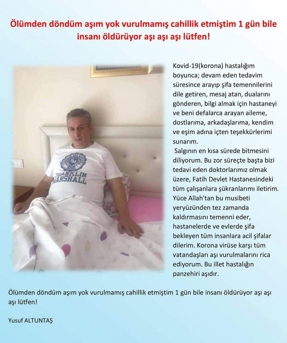 Trabzon'da kovid ile boğuşan kişiden aşı mesajı