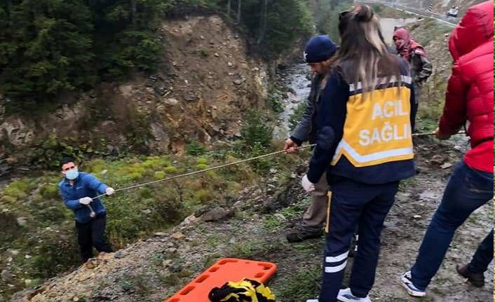 Trabzon'da kamyon şarampole yuvarlandı: 2 yaralı