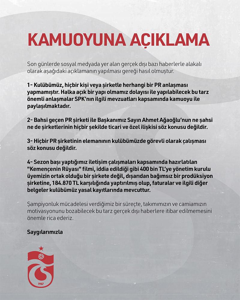 Trabzonspor'dan flaş yalanlama