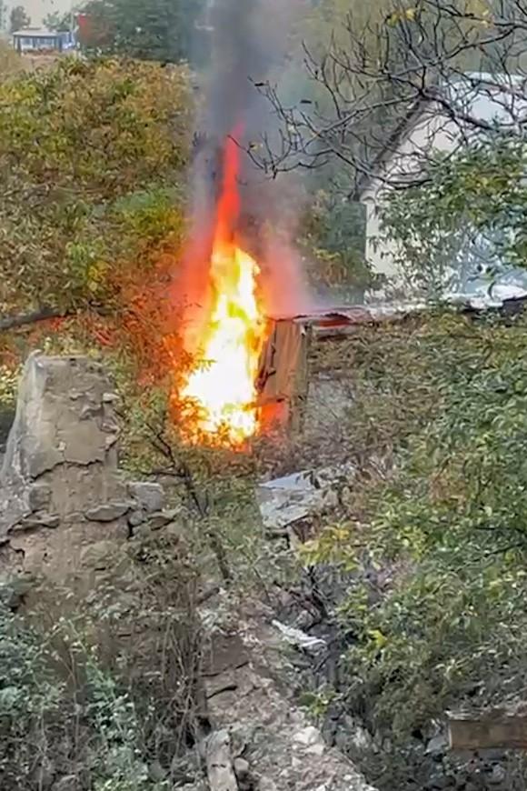 Gümüşhane'de yangın! 1 büyükbaş hayvan telef oldu