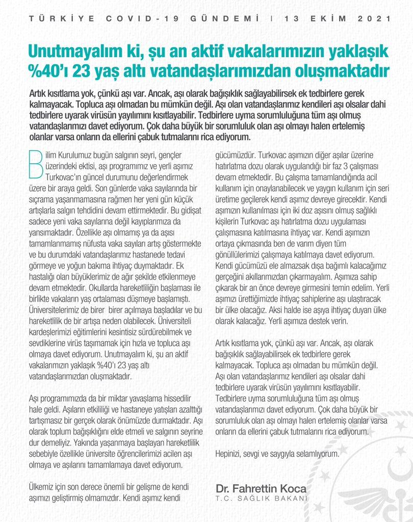 Bakan Koca'dan Bilim Kurulu toplantısı sonrasında aşı çağrısı