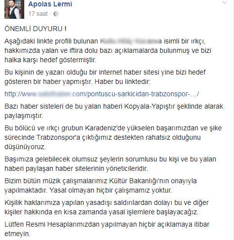Trabzonlu sanatçı hedef gösterildi! İsyan etti...