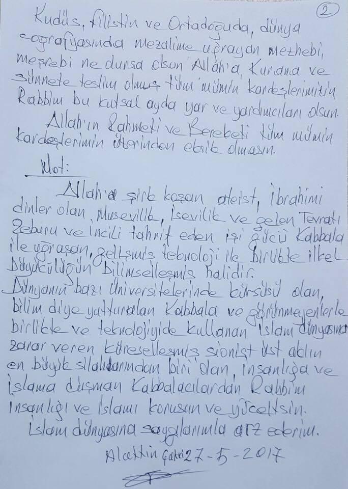 Ramazan Mesajı gönderdi