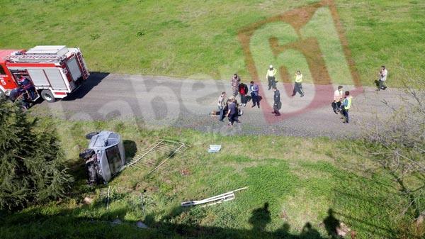 Trabzon'da kaza - Otomobil havalimanına düştü