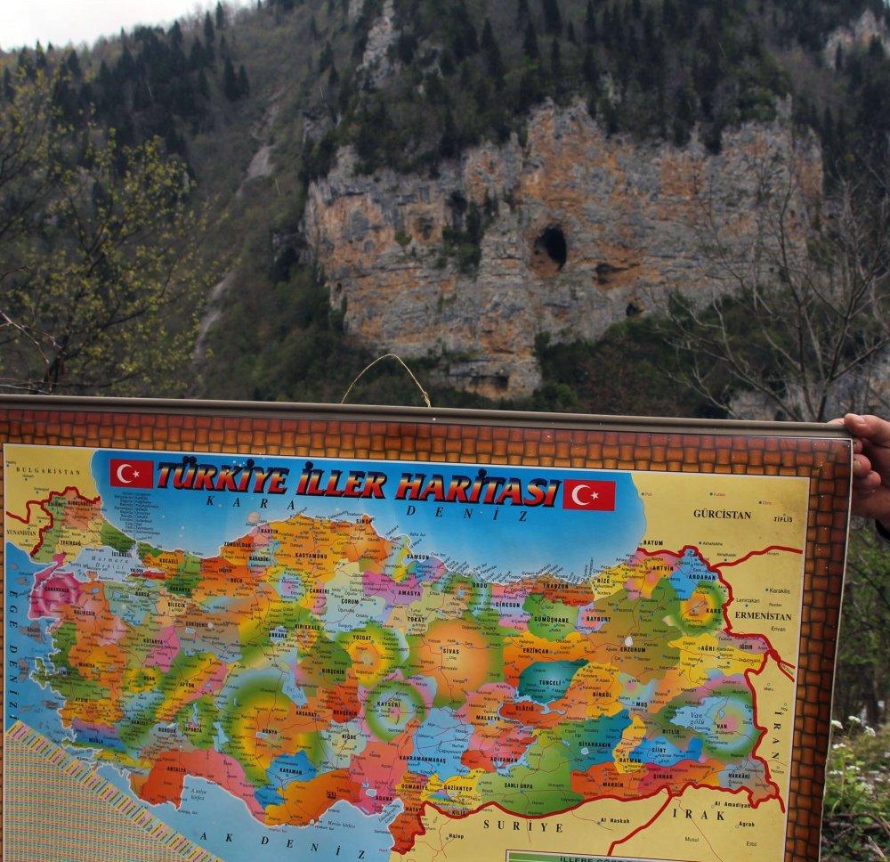 Giresun'da kayalıktaki şeklin sırrı