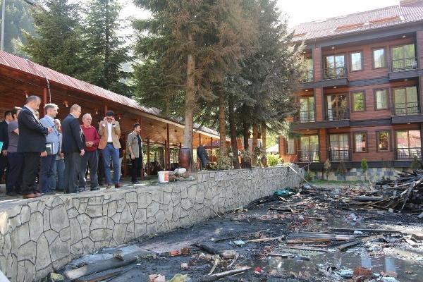Vali Yavuz Uzungöl'de yangın çıkan otelde inceleme