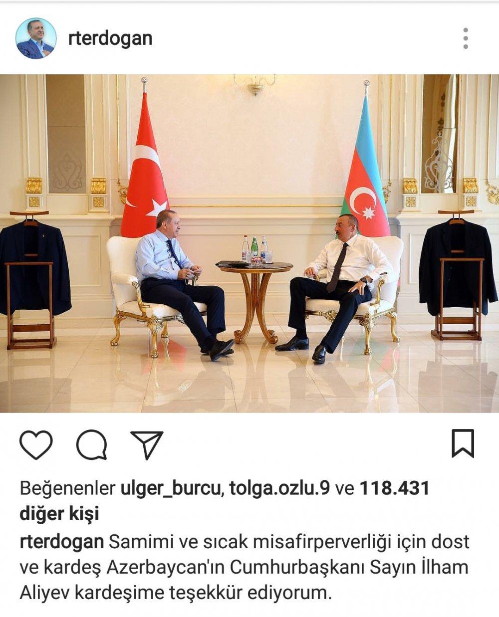 Erdoğan'dan Aliyev'e teşekkür