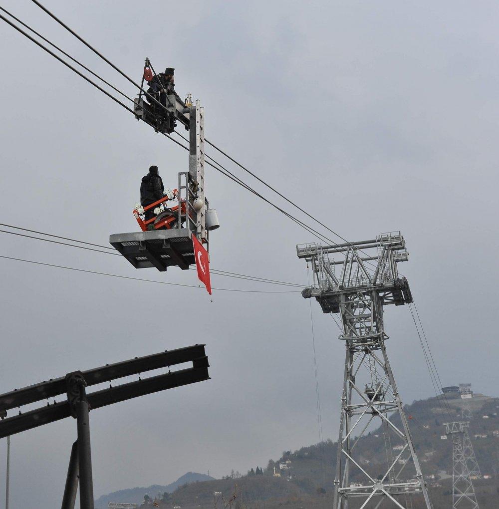 Trabzon'daki teleferik çalışmaya başladı