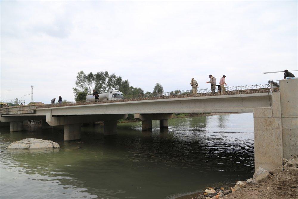 Ordu'da selin yıktığı köprü tamamlanmak üzere