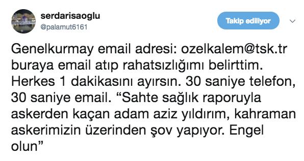 Fenerbahçe Başkanı Aziz Yıldırım'ın, Zeytin Dalı Harekatı'nda görev alan askerlere destek vermeye hazırlandığı ve yarın Hatay sınır bölgesine gideceği Trabzonspor taraftarları tarafından şaşkınlıkla karşılandı. Ayrıca tepki veren taraftarlar Genelkurmay Başkanlığını e mail ve telefon yağmuruna tuttu.