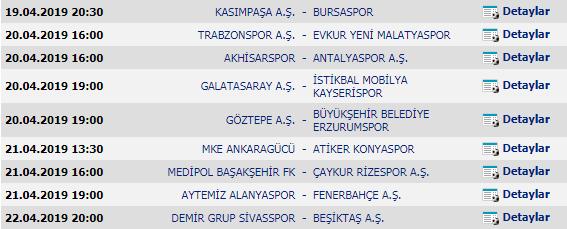 Spor Toto Süper Lig - 29. Hafta