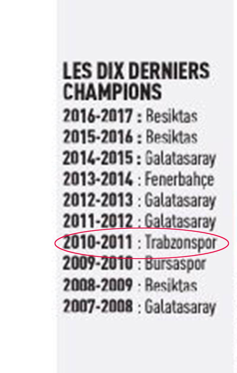 Fransa gazetesi 2010-2011 şampiyonu Trabzonspor dedi