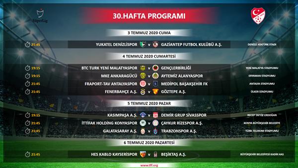 27-31. hafta programı açıklandı