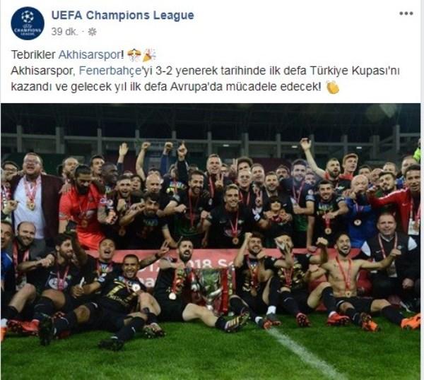 UEFA'dan Akhisarspor'a tebrik