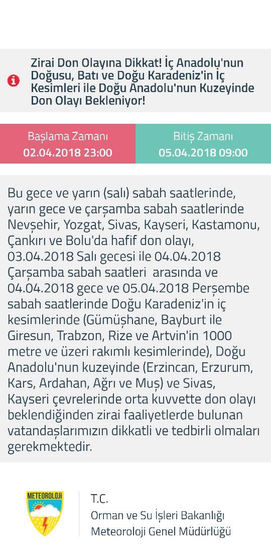 Trabzon için don uyarısı