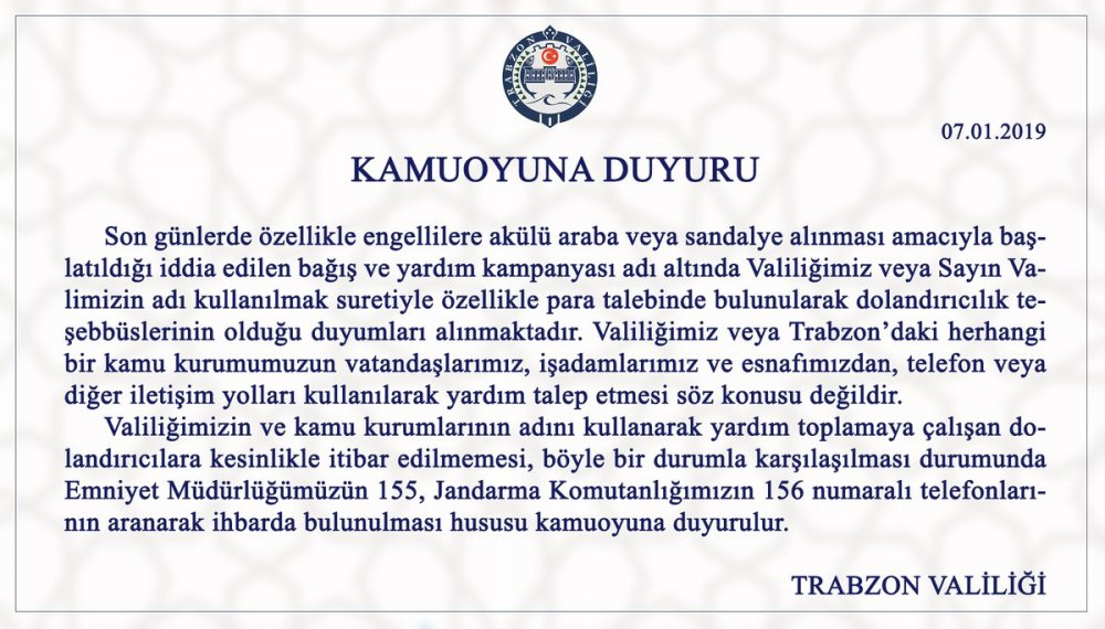 Trabzon Valiliği'ndan önemli uyarı