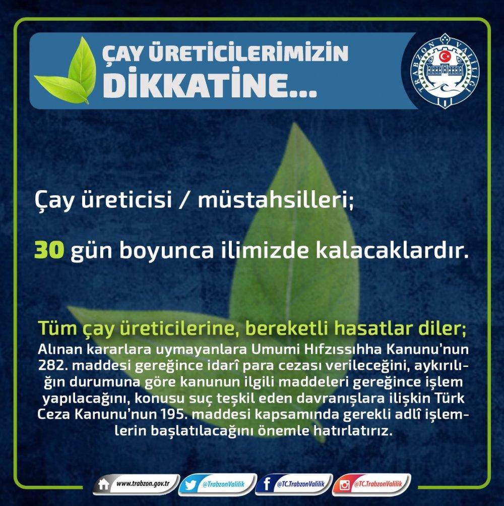 Trabzon Valiliği'nden çay üreticilerine uyarı