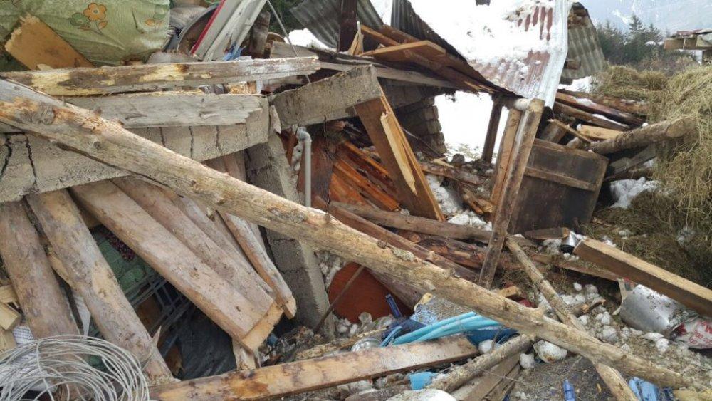 Trabzon'da çığ düştü! Ev yerle bir oldu