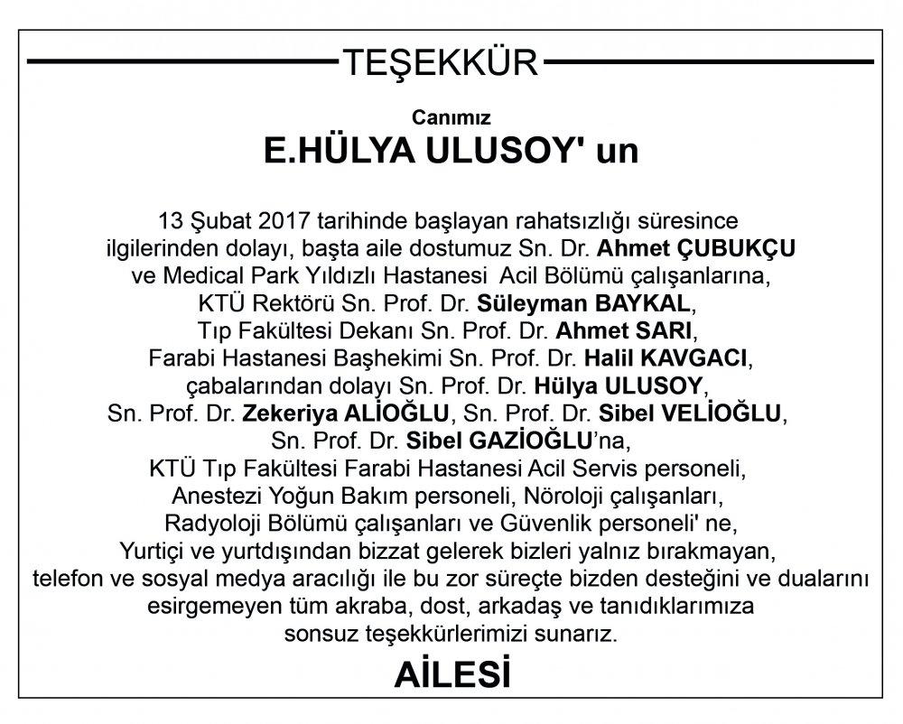 Hülya Ulusoy'dan teşekkür!
