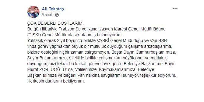 Trabzon TİSKİ'ye atanan isim belli oldu!