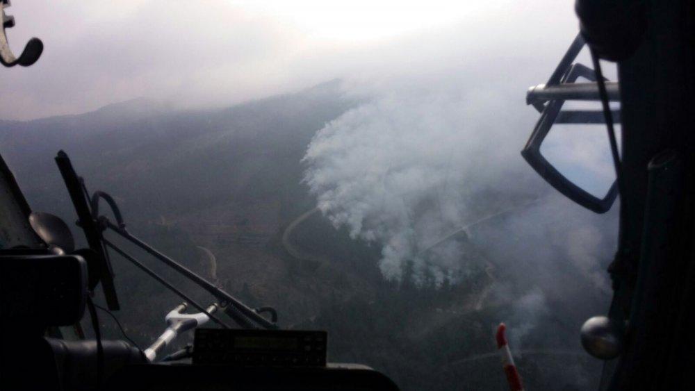 Askerden kaçan teröristler orman yaktı