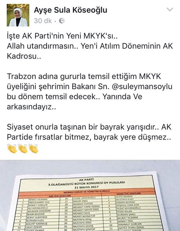 MKYK dışında kalan Trabzon Milletvekilinden mesaj!