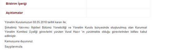 Trabzonspor'da İstifa: KAPa bildirildi