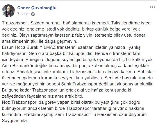 Çuvalcıoğlu: Trabzonspor kimseden para bağışlamasını istemedi