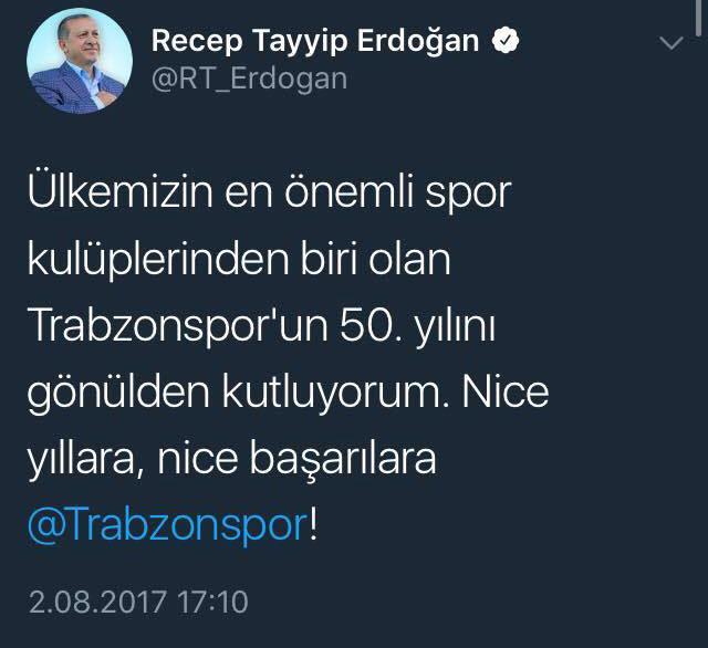 Cumhurbaşkanı Erdoğan'dan Trabzonspor'a mesaj