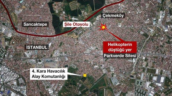 İstanbul'da Askeri helikopter düştü - 4 Asker şehit