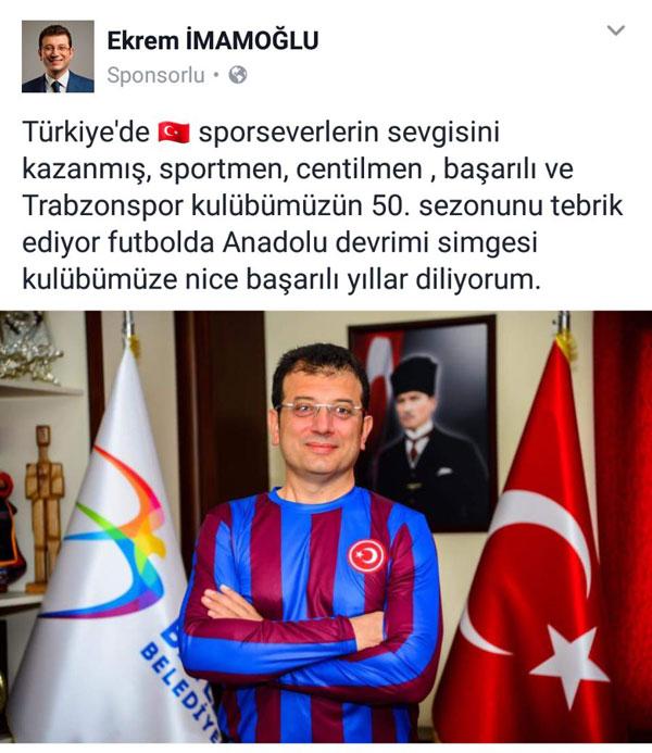 İmamoğlu'ndan Trabzonspor mesajı