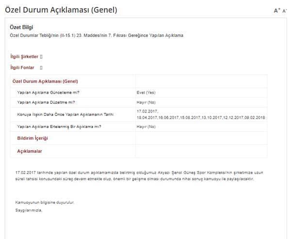 Trabzonspor'dan KAP Bildirimi