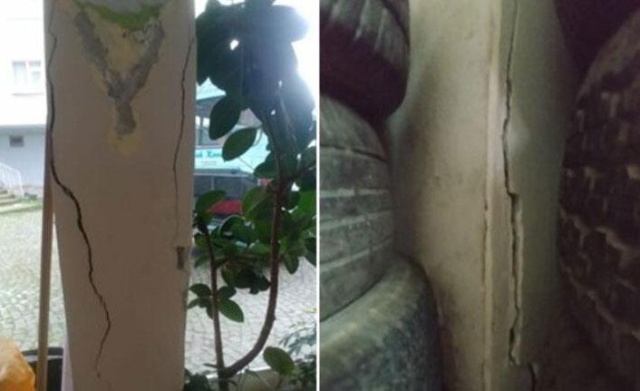Taşıcıyı kolonları çatlayan 11 katlı bina yıkılıyor