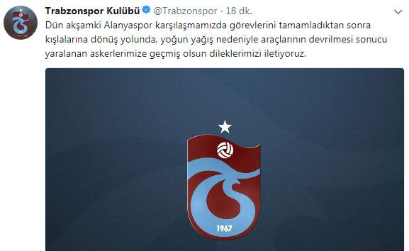 Trabzonspor'dan askerlere geçmiş olsun mesajı