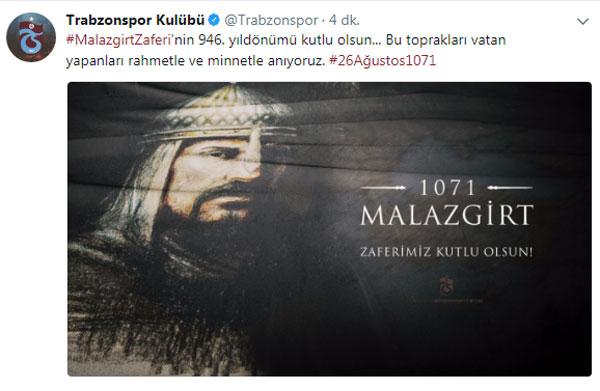 Trabzonspor'dan Malazgirt mesajı
