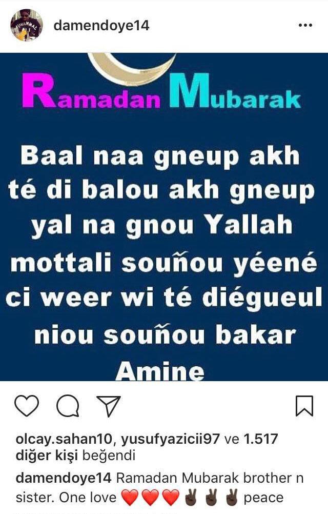 N'Doye'dan Ramazan mesajı