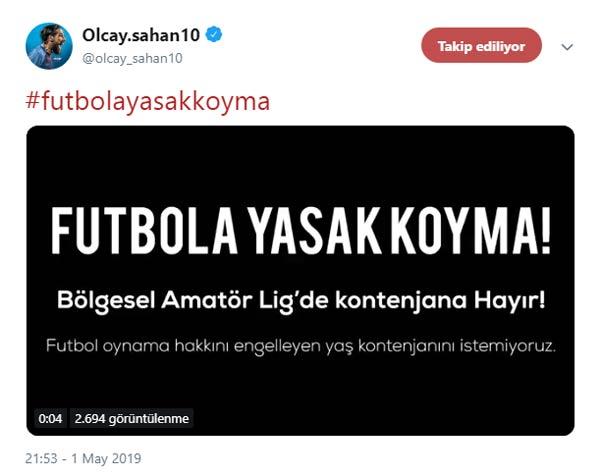 """Olcay Şahan'dan o kampanyaya destek – """"Futbola yasak Koyma"""""""
