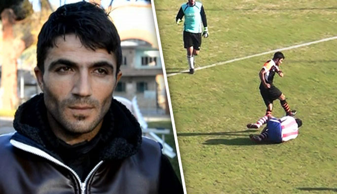 Rakibini tekmeleyen futbolcuya hapis cezası verildi