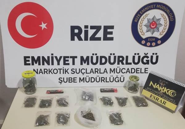 Rize'de operasyon - Polisin geldiğini görünce bakın ne yaptı