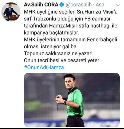 Salih Cora'dan Hamza Mısır'a destek!