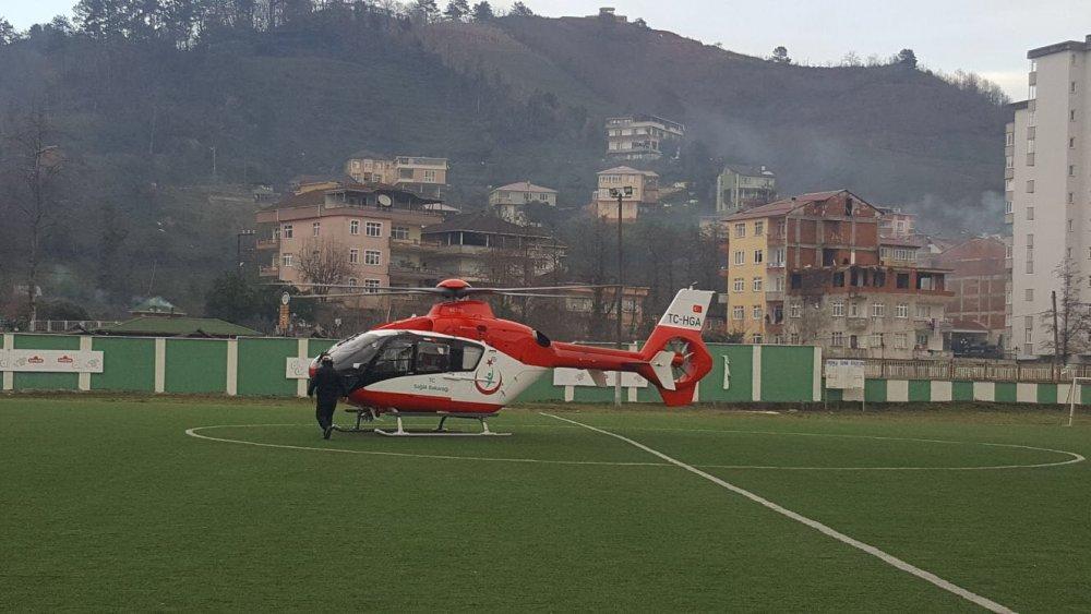 Süt kazanına düşen bebeğe ambulans helikopterle sevk