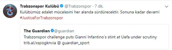 "Trabzonspor'dan mesaj: ""Sonuna kadar devam!"""