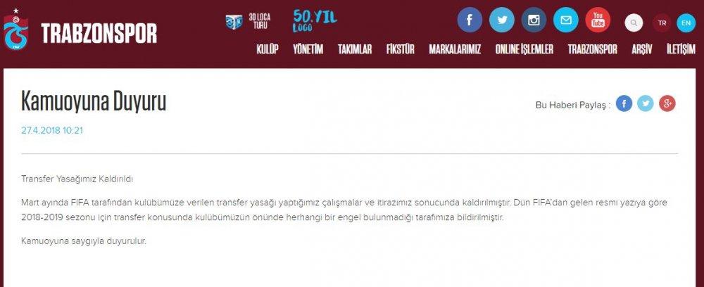 Trabzonspor'un transfer yasağında flaş gelişme