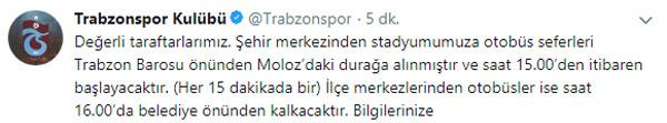 Trabzonspor'dan taraftarlara duyuru: Önemli değişiklik